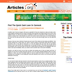Find The Quick Cash Loan In Cannock