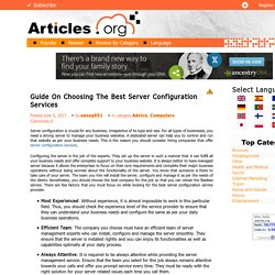 Guide On Choosing The Best Server Configuration Services