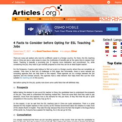 4 Facts to Consider before Opting for ESL Teaching Jobs