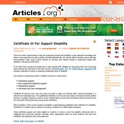 Certificate Iii For Support Disability