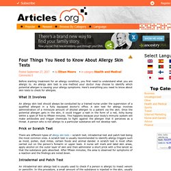 Four Things You Need to Know About Allergy Skin Tests