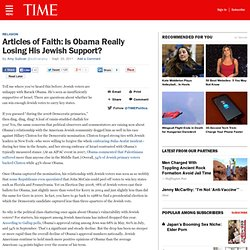 Articles of Faith: Is Obama Really Losing His Jewish Support?