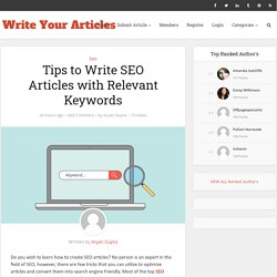 Tips to Write SEO Articles with Relevant Keywords