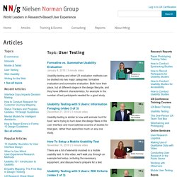 User Testing Articles, Reports, Training Courses, and Online Seminars by NN/g