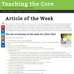 Articles of the Week (AoW)