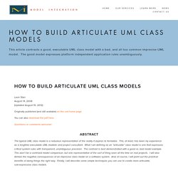 How to Build Articulate UML Class Models — Model Integration, LLC