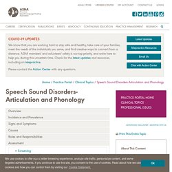Speech Sound Disorders: Articulation and Phonology: Assessment