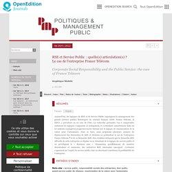 RSE et Service Public: quelle(s) articulation(s)?Le cas de l'entreprise France Télécom