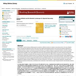 Literacy Artifacts and the Semiotic Landscape of a Spanish Secondary School - Poveda - 2012 - Reading Research Quarterly
