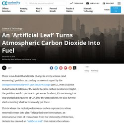 An 'Artificial Leaf' Turns Atmospheric Carbon Dioxide Into Fuel
