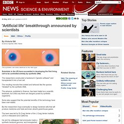 'Artificial life' breakthrough announced by scientists