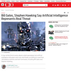Bill Gates, Stephen Hawking Say Artificial Intelligence Represents Real Threat