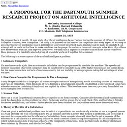A PROPOSAL FOR THE DARTMOUTH SUMMER RESEARCH PROJECT ON ARTIFICIAL INTELLIGENCE