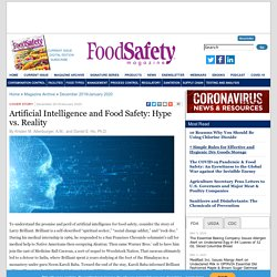 FOOD SAFETY MAAZINE - DEC 2019 - Artificial Intelligence and Food Safety: Hype vs. Reality