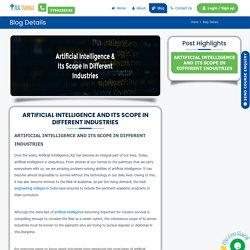 ARTIFICIAL INTELLIGENCE AND ITS SCOPE IN DIFFERENT INDUSTRIES