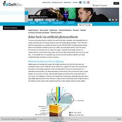 TU Delft: Solar fuels via artificial photosynthesis