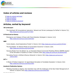 Journal of Artificial Societies and Social Simulation Index