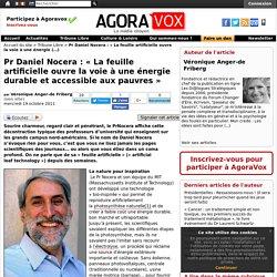 Pr Daniel Nocera : « La feuille artificielle ouvre la voie à une énergie durable et accessible aux pauvres »