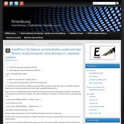 WordPress: Die Sidebar auf Artikelseiten ausblenden (der Bereich wo die Kategorien, neue Beiträge etc. angezeigt werden) » Emondu.org