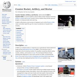 Counter Rocket, Artillery, and Mortar