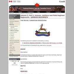 DHH - Armour, Artillery and Field Engineer Regiments - ARMOUR REGIMENTS - THE ROYAL CANADIAN DRAGOONS