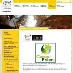 CMA - Chambre de Métiers et de l'Artisanat - Nouvelle Calédonie - L'opération Garage Propre