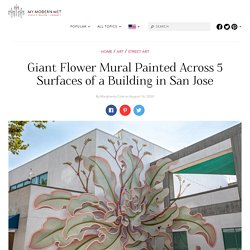 Artist Decorates Building With a 5-Plane Mural of a Giant Flower