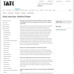 Martha Rosler - Artist interview - Tate Modern