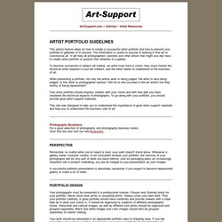 Artist Portfolio Guidelines - How to Create Artist Portfolio