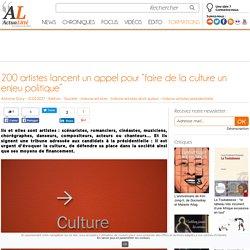 """200 artistes lancent un appel pour """"faire de la culture un enjeu politique"""""""