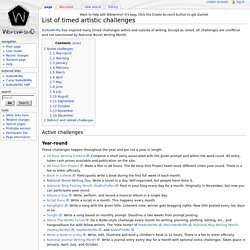 List of timed artistic challenges - Wikiwrimo