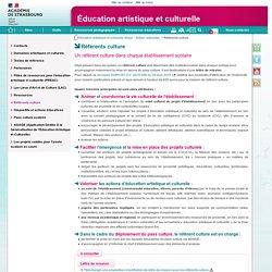 Référents culture - Éducation artistique et culturelle