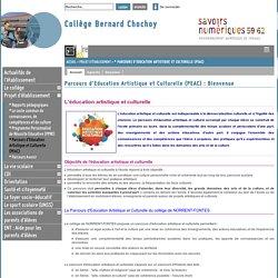 Collège Bernard Chochoy - Parcours d'Education Artistique et Culturelle (PEAC) : Bienvenue