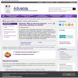 """Accueil du portail - Séminaire """"Mise enœuvre du parcours d'éducation artistique et culturelle"""""""