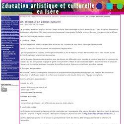Un exemple de carnet culturel - Education artistique et Culturelle en Isère