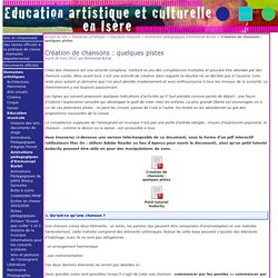 Création de chansons : quelques pistes - Education artistique et Culturelle en Isère