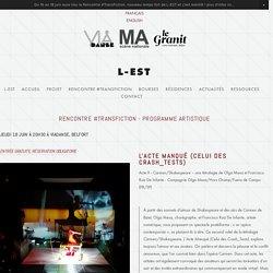 Programme Artistique — L-EST/Laboratoire Européen Spectacle vivant et Transmédia