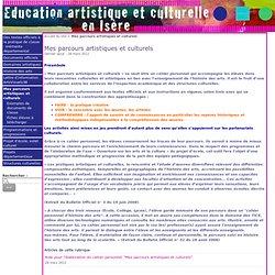 Mes parcours artistiques et culturels - Education artistique et Culturelle en Isère