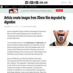 Artists create images from 35mm film degraded by digestion