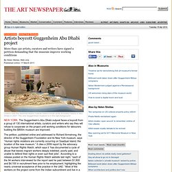 Artists boycott Guggenheim Abu Dhabi project