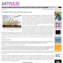 ARTPULSE MAGAZINE » Features » The Real Thing / Interview with Oliver Laric