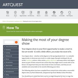Artquest>Making the most of your degree show