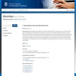 Masinõpe - Kursused - Arvutiteaduse instituut