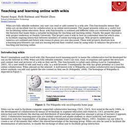 ASCILITE 2004: Augar, Raitman and Zhou - Teaching and learning online with wikis
