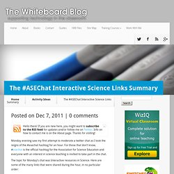 The #ASEChat Interactive Science Links Summary