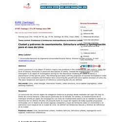 EURE (Santiago) - Ciudad y patrones de asentamiento: Estructura urbana y tipologización para el caso de Lima