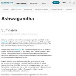 Ashwagandha - Scientific Review on Usage, Dosage, Side Effects