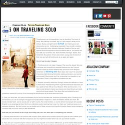 Tips on Traveling Solo