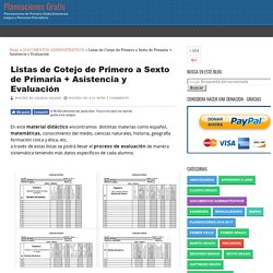 Listas de Cotejo de Primero a Sexto de Primaria + Asistencia y Evaluación
