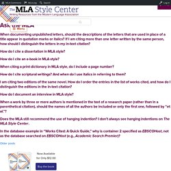 Ask the MLA – The MLA Style Center